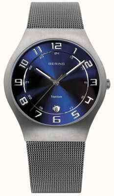 Bering Męski pasek zegarka siatkowego z niebieską tarczą 11937-078
