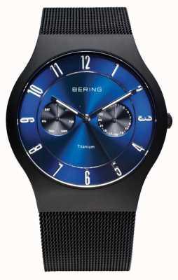 Bering Męski tytanowy czarny niebieski zegarek 11939-078