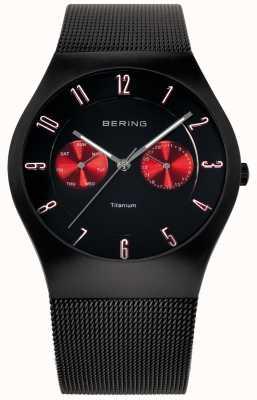 Bering Męski pasek zegarka z czarnym tytanowym akcentem 11939-229