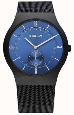 Bering Męski czarny, smukły, niebieski zegarek 11940-227