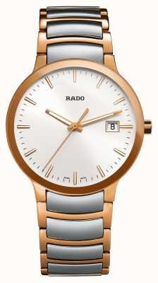 Rado Dwukolorowy zegarek biały ze stali nierdzewnej Centrix R30554103