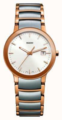 Rado Dwukolorowy zegarek biały ze stali nierdzewnej Centrix R30555103