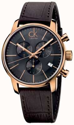 Calvin Klein Męski, różowo-złoty, czarny, brązowy, skórzany miejski chronograf K2G276G3