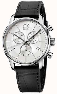 Calvin Klein Męski chronograf ze stali nierdzewnej i czarnego srebra K2G271C6