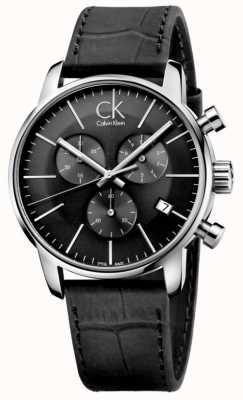Calvin Klein Męski zegarek ze skóry i czarnej skóry ze stali nierdzewnej K2G271C3