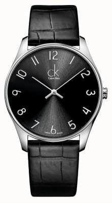 Calvin Klein Klasyczny skórzany męski zegarek K4D211CX