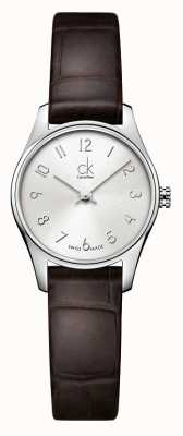 Calvin Klein Damski, klasyczny, srebrno-brązowy zegarek K4D231G6