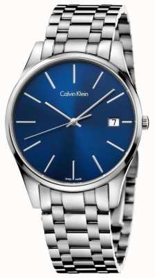 Calvin Klein Zegarek męski srebrny niebieski czas K4N2114N