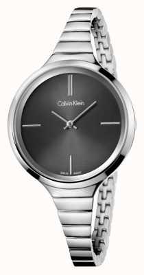 Calvin Klein Damski, srebrno-czarny zegarek K4U23121