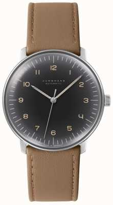 Junghans Mens max bill automatyczny czarny zegarek z brązowej skóry 027/3401.04