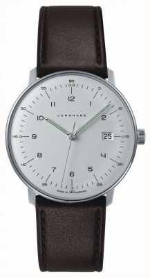 Junghans Mens max bill biały zegarek kwarcowy z brązowym paskiem 041/4461.00