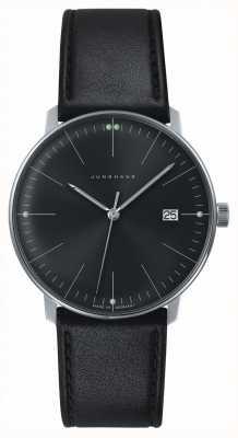 Junghans Męskie max rachunek kwarcowy czarny tarcza czarny skórzany zegarek 041/4465.00