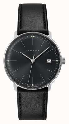 Junghans Męski zegarek kwarcowy Max Bill z czarną skórzaną tarczą 041/4465.04
