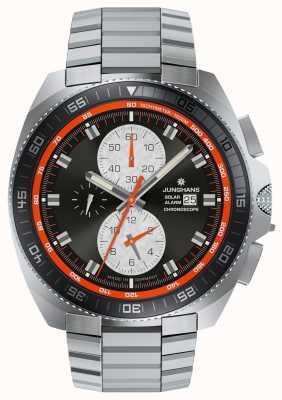 Junghans Ex wyświetlacz mężczyzna 1972 chronoskop słoneczny zegarek ze stali nierdzewnej 014/4202.44-EX-DISPLAY