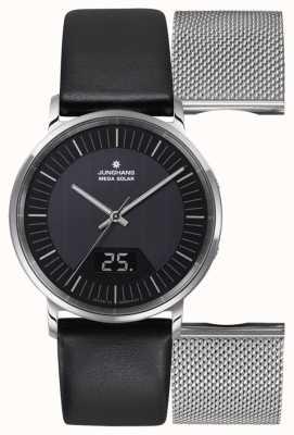 Junghans Męski zestaw milano mega solar black leather / milanese 056/4220.00