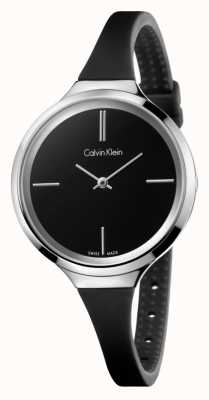 Calvin Klein Damski, żywy, czarny, silikonowy pasek K4U231B1