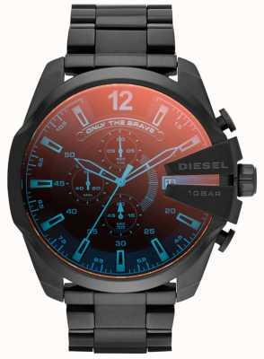 Diesel Męski mega główny czarny irydowy stalowy zegarek DZ4318