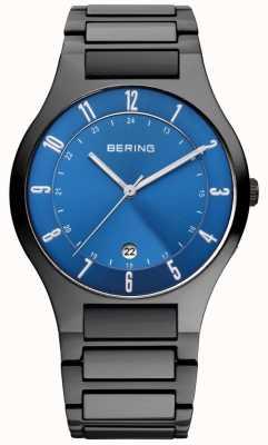 Bering Męski czarny tytanowy zegarek z niebieską tarczą 11739-727