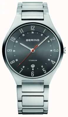 Bering Męski tytanowy zegarek z czarną tarczą 11739-772