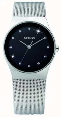 Bering Damska stal, czarna tarcza, kryształowy zegarek 12927-002