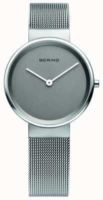 Bering Klasyczna damska, siatkowa, szara tarcza, stalowy zegarek 14531-077