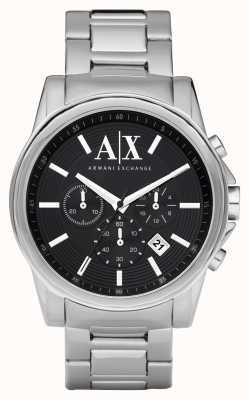 Armani Exchange Męski, inteligentny zegarek ze stali nierdzewnej z czarną tarczą AX2084