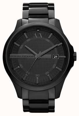 Armani Exchange Męska, elegancka, czarna, pvdowana stal nierdzewna AX2104