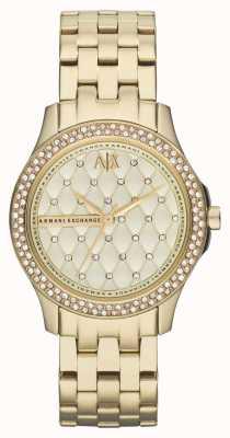 Armani Exchange Zestaw kryształowych bransoletek ze złotem AX5216