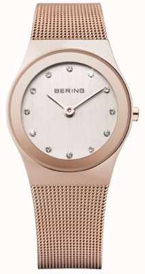 Bering Damskie różowe złoto, pasek z siatki, kryształowy zegarek 12927-366