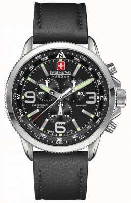Swiss Military Hanowa Męski czarny skórzany chronograf ze stali czarnej 6-4224.04.007