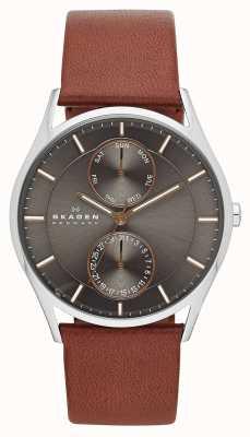 Skagen Męski zegarek z brązowym skórzanym paskiem SKW6086