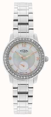 Rotary Kobiet, cambridge, perła wybierania, kryształowy zegarek LB02700/41