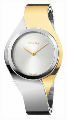 Calvin Klein Damskie zmysły, dwukolorowy, złoty i stalowy mały zegarek K5N2S1Y6