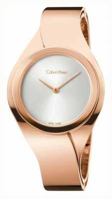 Calvin Klein Damskie zmysły, różowe złoto, srebrna tarcza K5N2M626