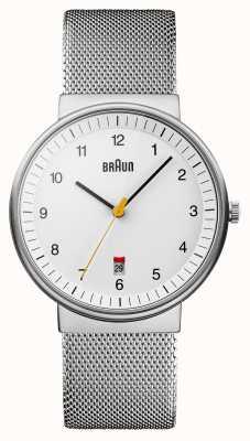 Braun Męski srebrny biały zegarek BN0032WHSLMHG