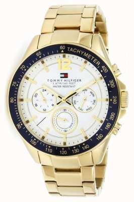 Tommy Hilfiger Męski zegarek Luke w złotym odcieniu | złoty metalowy pasek | 1791121