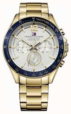 Tommy Hilfiger Męski zegarek Luke | obudowa pvd | złoty pasek ze stali nierdzewnej | 1791121