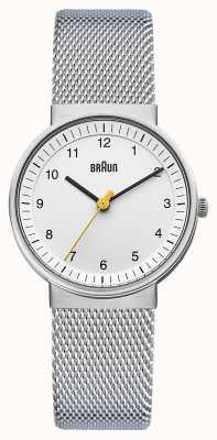 Braun Zegarek damski | pasek ze stali nierdzewnej | biała tarcza | BN0031WHSLMHL