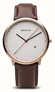 Bering Męski biały skórzany pasek z brązową tarczą 11139-564
