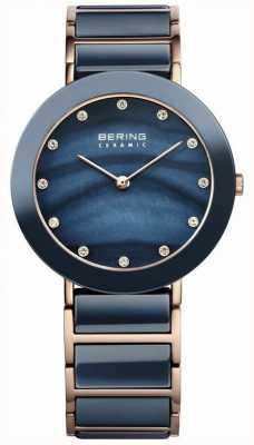 Bering Damska niebieska ceramika, różowe złoto, perła, kamień 11435-767