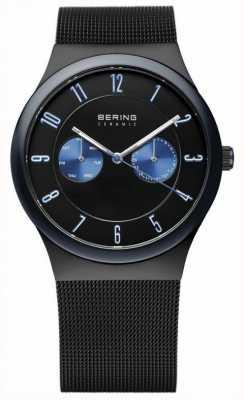 Bering Męski czarny ceramiczny, siatkowy pasek, niebieski akcent 32139-227
