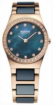Bering Damska niebieska ceramika, różowe złoto, perła tarcza 32426-767