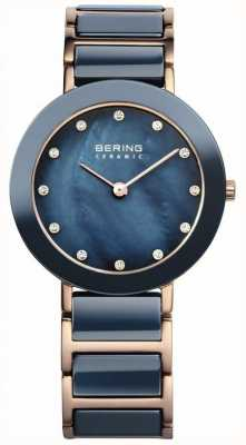 Bering Damska niebieska ceramiczna róża, złoto, perła 11429-767