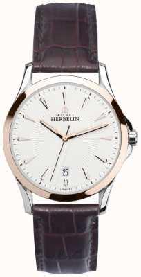 Michel Herbelin Męskie liry ze stali i różowego złota, skórzany zegarek 12213/TR12MA