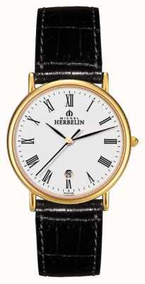 Michel Herbelin Męskie sonaty, złota tablica, czarny skórzany zegarek 12443/P01