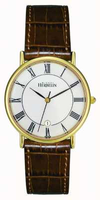 Michel Herbelin Męski zegarek pozłacany pvd, brązowa skóra 12443/P08GO