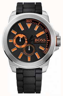 Hugo Boss Orange Męski pasek ze stali nierdzewnej, czarny gumowy 1513011