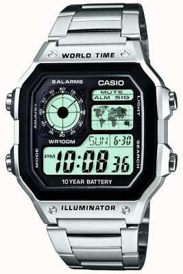 Casio Cyfrowy wielofunkcyjny zegar światowy AE-1200WHD-1AVEF