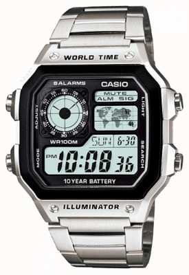 Casio Cyfrowy wielofunkcyjny zegar światowy kwarcowy AE-1200WHD-1AVEF