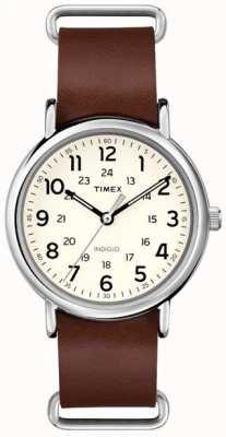 Timex Oryginalny brązowy skórzany pasek na tydzień T2P495